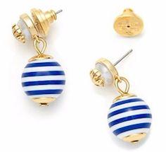 Blue striped gold Tory Burch earrings
