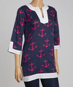 Another great find on #zulily! Navy & Hot Pink Anchor Notch Neck Tunic #zulilyfinds