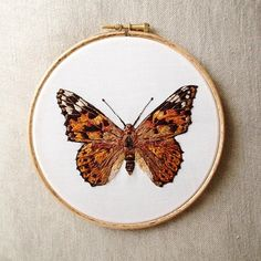 Completed this last night! Butterfly Embroidery, Hand Embroidery Patterns, Embroidery Art, Cross Stitch Embroidery, Machine Embroidery, Brazilian Embroidery, Thread Painting, Button Art, Embroidery Techniques