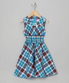 Take a look at this Blue Plaid Sleeveless Dress - Toddler & Girls by Lele for Kids on #zulily today!