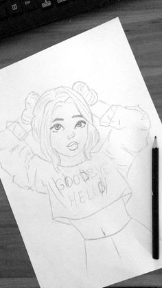 Tattoo girl drawing dibujo 40 New Ideas Tumblr Drawings, Cool Art Drawings, Pencil Art Drawings, Disney Drawings, Easy Drawings, Cute Drawings Of Girls, Girl Drawing Sketches, Drawing Ideas, Tumblr Girl Drawing