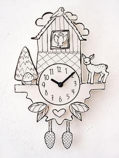 Красивые часы в бумажном стиле... Интересно было бы использовать их в каком-нибудь минималистическом декоре.