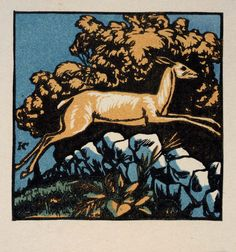 Artist: Harry Cimino Title: The Marchbanks Calendar—October Date: n.d. Medium: color woodcut Size: 3 x 3 in Source: Smithsonian American Museum