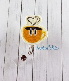Coffee Cup Felt Badge Holder with Retractable Reel. by SantaFeKiss