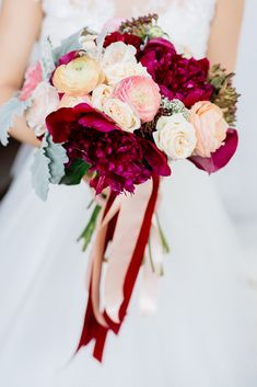 Burgundy/deep red and peach peony bridal bouquet // Bridal bouquet inspiration