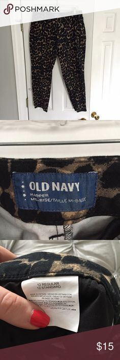 Old Navy Harper Leopard Pants Super fun animal print pants, flattering mid rise fit. NWOT, never worn. Old Navy Pants Ankle & Cropped