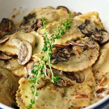Mushroom ravioli in alfredo sauce and other yummy pasta dishes