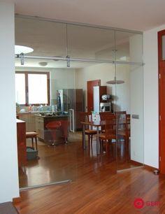 Sklenená stena s posuvnými dverami Table, Glass Doors, Furniture, Home Decor, Glass Pocket Doors, Decoration Home, Room Decor, Tables, Glass Door