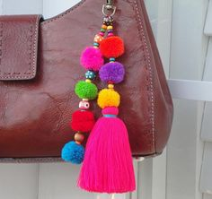 Your place to buy and sell all things handmade Pom Pom Crafts, Yarn Crafts, Pom Pom Bag Charm, Handmade Keychains, Macrame Wall Hanging Diy, Button Crafts, Pink Peonies, Wooden Beads, Tassels