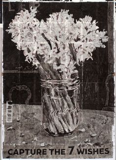 From Goodman Gallery, William Kentridge, Capture the 7 Wishes Indian ink and red pencil on found encyclopedia pages, 216 × 150 cm Glass Vase, Artsy, Animation, Ink, Gallery, Drawings, Artwork, Work Of Art, Auguste Rodin Artwork