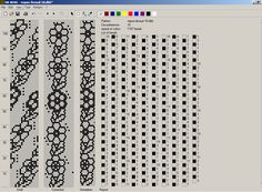 Bead crochet rope pattern - flowers in a chain 2 colors 18 around