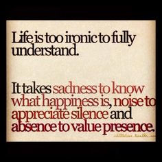 It takes sadness to know what happiness is, noise to appreciate silence and absence to value presence.