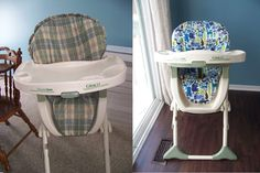 DIY High Chair Cover Tutorial- How to recover an ugly old high chair