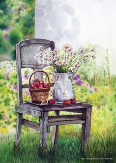 Miroonamoo Art 대전 성인취미미술 미루나무아트 Watercolor Landscape, Watercolour Painting, Watercolor Flowers, Painting & Drawing, Art Drawings For Kids, Colorful Drawings, Arte Latina, Art Painting Gallery, Decoupage Vintage