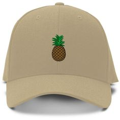 Amazon.com: PINEAPPLE Embroidery Embroidered Adjustable Hat Baseball... ($12) via Polyvore featuring accessories, hats, adjustable ball caps, embroidered hats, ball cap hats, baseball caps and khaki baseball cap