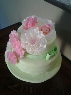 Baby shower cake with fondant baby..