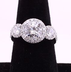 Phodium Plated 3 CZ Engagement Ring with by OwlDesigns1996 on Etsy