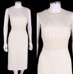 EXTE COLLEZIONE WHITE SLEEVELESS OPEN BACK SHEATH DRESS SZ 44 #ExteCollezione #Sheath