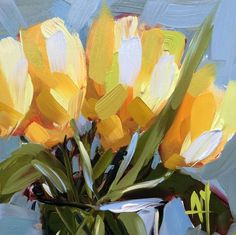 Yellow Tulips no. 3 Original Floral Oil Painting by Angela Moulton pre-order