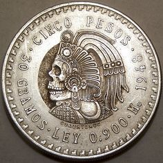 JOHN HUGHEY HOBO COIN - MEXICAN MAYAN SKULL - MEXICAN 50 CENTAVOS COIN Mayan Tattoos, Body Tattoos, I Tattoo, Old Coins, Rare Coins, Mexico Style, Hobo Nickel, Coin Art, Cool Inventions