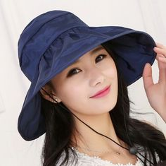 62ab1908fee 2017 Summer Women s Wide Brim Beach Sun Hat Fashion Chapeu Feminino  Foldable Visor Cap Outdoor Anti-UV Cap
