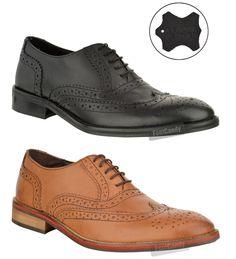 New Mens Gents Genuine Leather Vintage Smart Office Black Tan Brogue Shoes Size   eBay