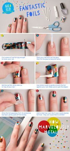 Nail foil, very inexpensive (you can order through dollarnailart.com) looks fun and easy