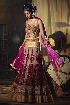 Elegant brown and magenta color lehenga choli R 22500.00 (INR) (Ready to Ship) SKU Code : LEHENGA-692 Product Information Color:Brown Color:Magenta Fabric:Net Occasion:Wedding Occasion:Bridal Work:Stone Work:Patch Work