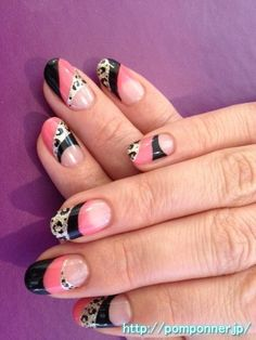 Leopard Nail French reverse pattern of three colors Pucci