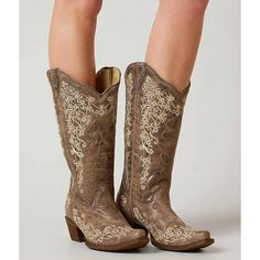Corral Embroidered Cowboy Boot - Brown US 10 ($209) ❤ liked on Polyvore featuring shoes, boots, brown, embroidered boots, tall brown boots, embroidered western boots, vintage boots and brown cowgirl boots