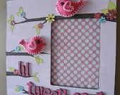 Pretty Decoupaged Picture Frame with Felt birds for Little Nursery or Bedroom