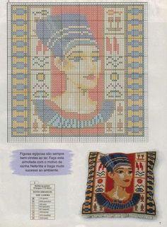 0 point de croix visage femme égyptienne - cross stitch egyptian woman
