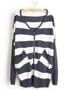 Navy and White Striped Loose Sweater$44.00
