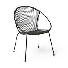 Stol med stålram, 63x83x60 cm, svart