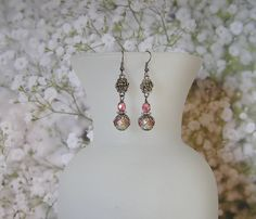 Grey and Pink Earrings with Light Grey Lampwork by SmockandStone, $17.00