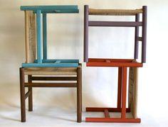 mid-century-style stools in milk painted oak • kapeldesigns