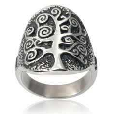 Vance Co. Men's Tree Of Life Ring (Silver, )