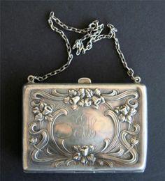 Sterling Silver Coin Purse Leather Art Nouveau