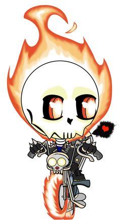 Chibi Ghost Rider by Tanis-WAR. Chibi Characters, Comic Book Characters, Marvel Characters, Comic Character, Comic Books Art, Comic Art, Book Art, Baby Marvel, Chibi Marvel