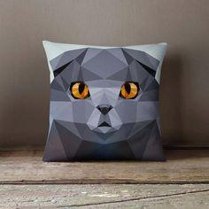 New cheap pet gift uploaded at SketchGrowl: Personalized Geometric Scottish Fold Cat Pillow Personalized Pillow Cases, Custom Pillow Cases, Throw Pillow Cases, Pillow Covers, Gifts For Pet Lovers, Cat Gifts, Cat Lovers, Designer Pillow, Designer Throw Pillows