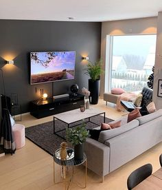 From a simple living room decor to elaborated lighting and plants. Your living r. Simple Living Room Decor, Living Room Grey, Living Room Lighting, Home Living Room, Apartment Living, Cozy Living, Lights For Living Room, Small Living Room Ideas With Tv, Cozy Apartment