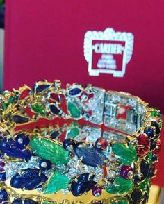 """On to the next! On my desk now is this rare and magnificent 'Tutti Frutti"""" bracelet from @cartier circa 1925. Part of @sothebys sale of #MagnificentJewels on December 8 in #NYC #sothebysjewels #cartier #amazingcartier #artdecojewelry #vintagejewelry #tuttifrutti"""