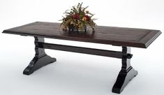 Reclaimed Hardwood Dining Table - Trestle Base