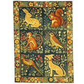 The Hunting Rug - Designer: Candace Bahouth, from Ehrman Tapestry. Out of production but I have the charts! Monkey, Falcon and Pheasant stitched. Lercher, Squirrel and Hare up next. Medieval Tapestry, Medieval Art, Medieval Pattern, William Morris Art, Art Chinois, Art Japonais, Arts And Crafts Movement, Tapestry Weaving, Fabric Art
