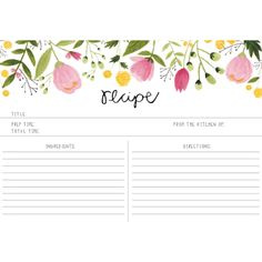 I really want to include a recipe card or two in the invitations, so that when people RSVP they will send back a recipe card AND an RSVP card. I like the flowers, the font. Pretty much everything about this is perf. Printable Recipe Cards, Recipe Binders, Paper Crafts, Diy Crafts, Wrap Recipes, Food Illustrations, Paper Goods, Free Printables, Decoration