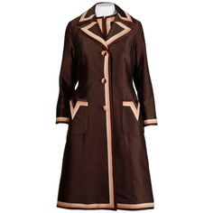 Stunning 1960s Vintage Silk   Wool Pink and Brown Striped Coat   Dress Ensemble…