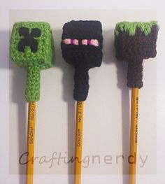 Crocheted Minecraft inspired pencil topper set by CraftingNerdy, $10.00