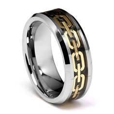 8mm Chain Link Inlay Men's Tungsten Wedding Band - Size 8. Free Exchange. Scratch Resistant. 100% Cobalt and Nickle Free. Comfort-Fit. Promptly Packaged with Free Gift Box and Gift Bag.