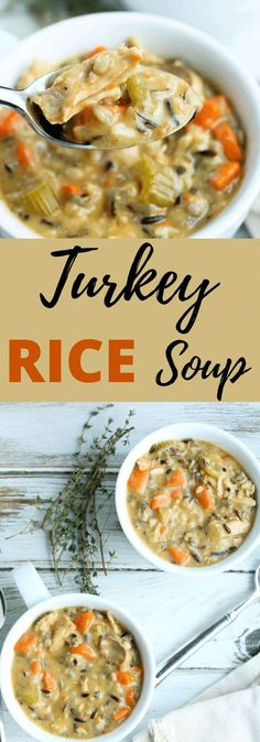 Leftover Turkey and Wild Rice Soup. This is PERFECT for leftover turkey (chicken works too!!) and is lightened up. Easy healthy delicious soup recipe!! Best Soup Recipes, Healthy Cookie Recipes, Peanut Butter Recipes, Lunch Recipes, Healthy Food, Favorite Recipes, Pasta Recipes, Cooking Recipes, Clean Eating Dinner