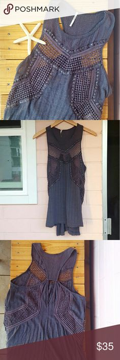 -1 day sale- XS GRAY FREE PEOPLE KNIT TANK *gray tank *size extra small *euc other than a couple beads missing (see pic 4) *cute tank that is perfect for any occasion  * comes from a smoke-FREE & pet-FREE home Free People Tops Tank Tops